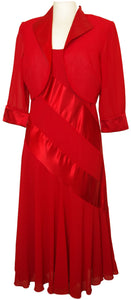 Red Georgette Silk Dress With Matching Bolero - Vz Collection
