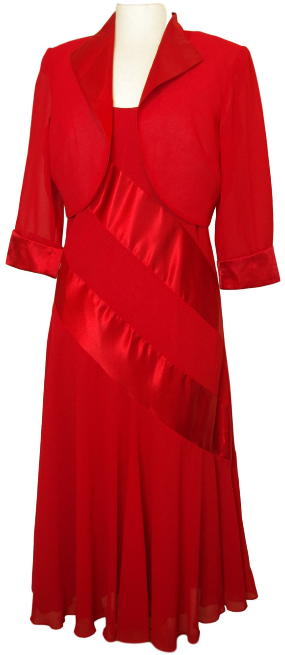 Red Georgette Silk Dress With Matching Bolero - VzCollection