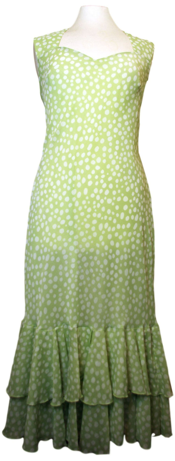 Polka Dot Soft Green Dress with Off-white Bolero - VzCollection