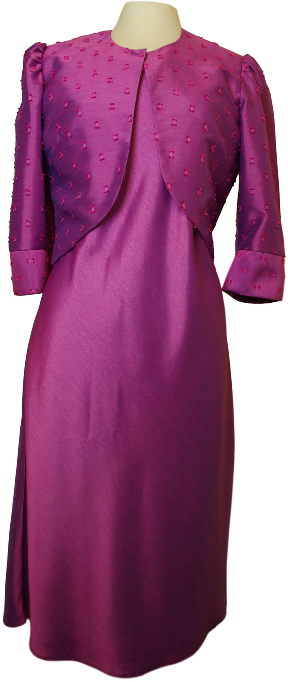 Purple Silk Dress with Textured Silk Bolero