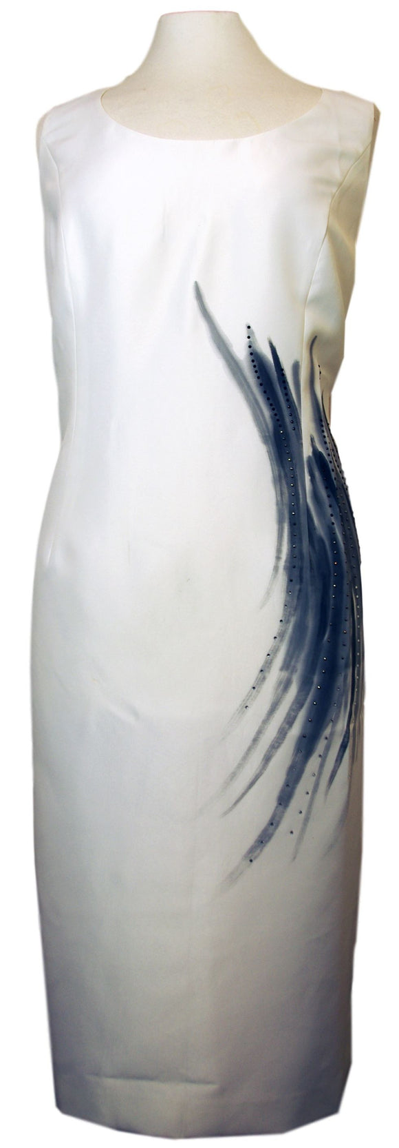 Hand Painted Ivory Silk Dress with Matching Hand Painted Bolero