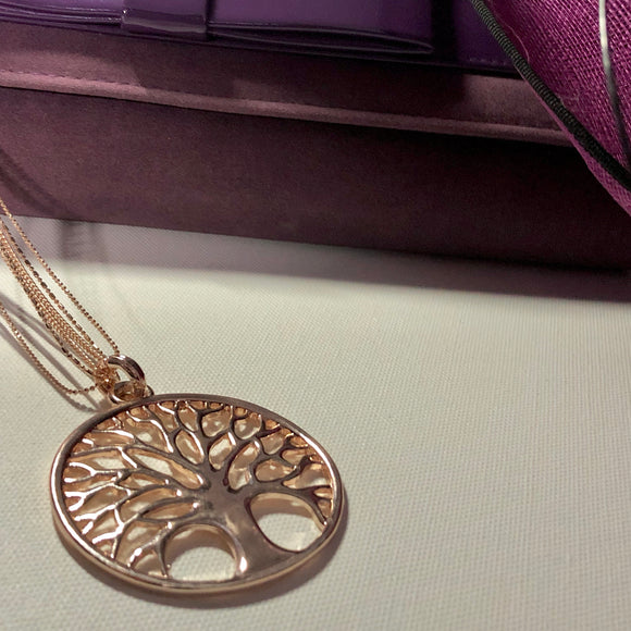 Tree of Life Rose Gold Statement Necklace - VzCollection