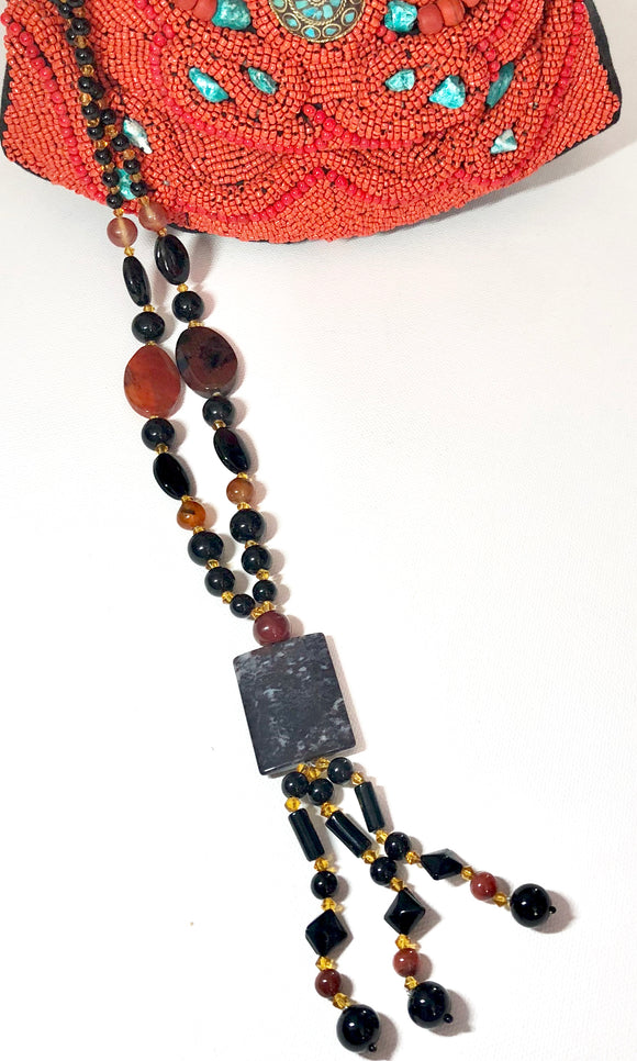 Earth Stone With Agates & Beads Necklace - VzCollection