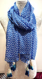 Blue & White ZigZag Geometric Scarf with Tassels - Vz Collection