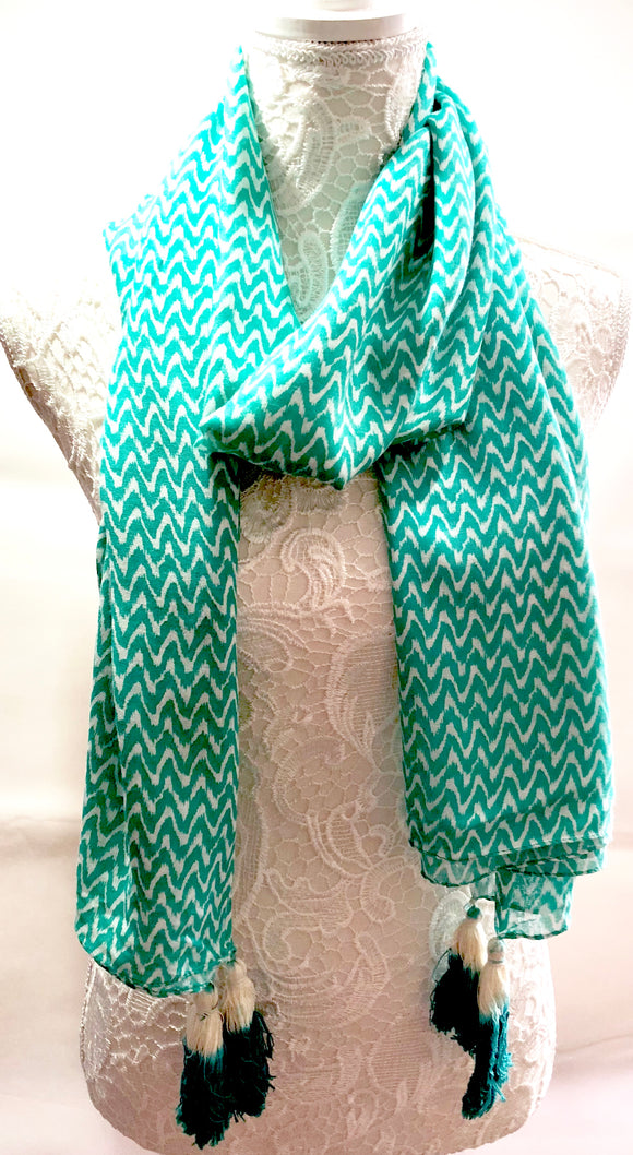 Turquoise Green & White ZigZag Geometric Scarf with Tassels - VzCollection