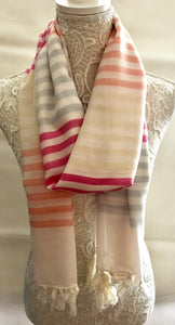 Ivory scarf with Multi Coloured Stripes - Vz Collection