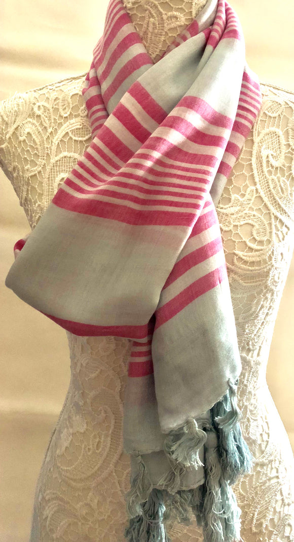 Grey scarf with Pink Stripes