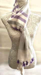 Ivory Scarf with Grey and Lilac Stripes - VzCollection