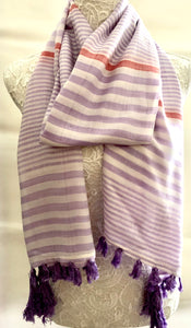 Ivory Scarf with Lilac Stripes and Purple Tassles - VzCollection