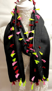 Scarf with Multi Coloured Tassles