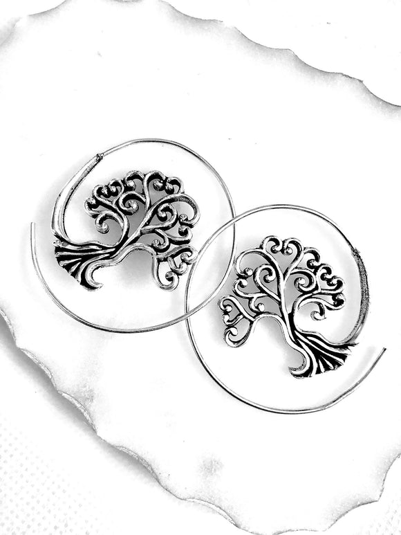 Circled Tree of Life Earrings - Vz Collection