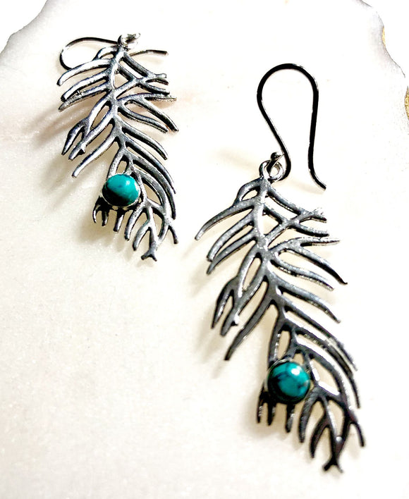 Turquoise Feather Earrings - VzCollection