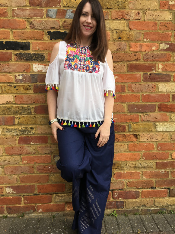 Wide Leg Denim Trousers with Sparkle Details