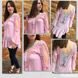 Cotton Top With Hand Crochet Detail - VzCollection