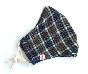 Purple, Brown and White Tartan Print Woollen Face Mask - Vz Collection
