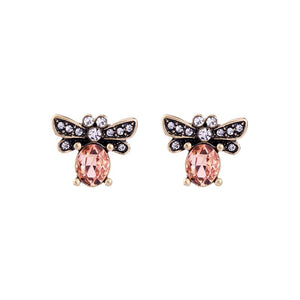 Peach Crystal Bee Earrings in Antique Gold - Vz Collection