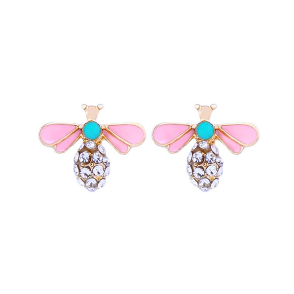 Pink and Mint Enamel Crystal Bee Earrings in Antique Gold - VzCollection