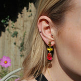 Red Yellow and Clear Gem Triple Drop Earrings in Antique Gold - VzCollection