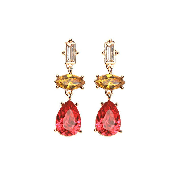 Red Yellow and Clear Gem Triple Drop Earrings in Antique Gold - Vz Collection