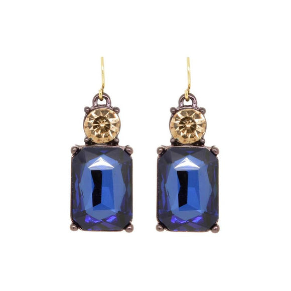 Simple Navy Gem with Crystal Earrings in Antique Gold - VzCollection