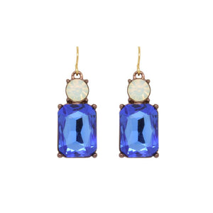 Simple Blue Gem with Opal Crystal Earrings in Antique Gold - VzCollection