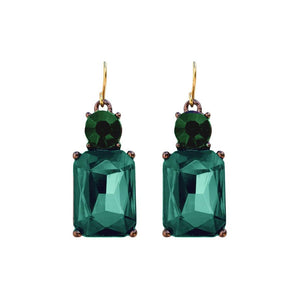 Simple Emerald Gem with Dark Green Crystal Earrings in Antique Gold - VzCollection