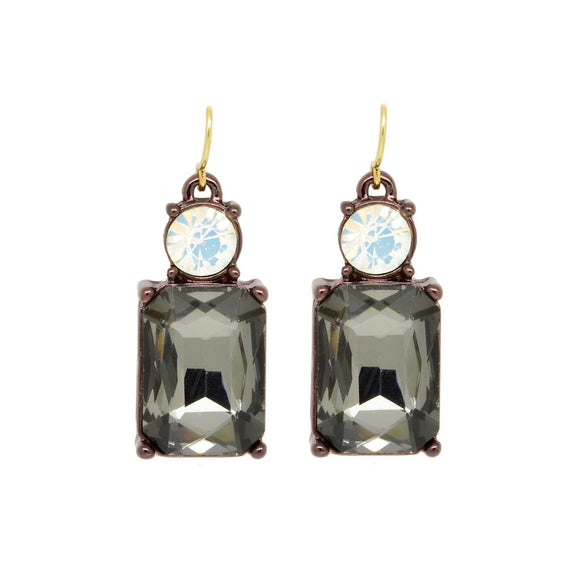 Simple Slate Grey Gem with Crystal Earrings in Antique Gold - Vz Collection