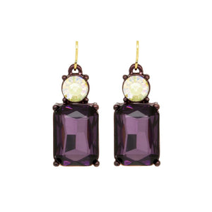 Simple Purple Gem with Crystal Earrings in Antique Gold - Vz Collection