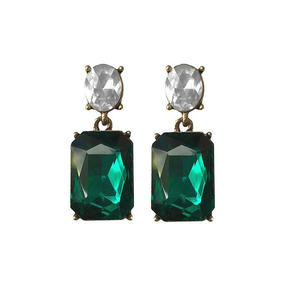 Emerald Gem with Clear Crystal Earrings in Antique Gold - VzCollection