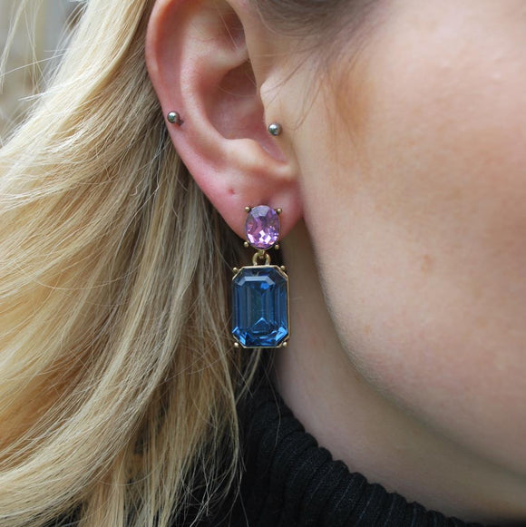 Midnight Blue Gem with Pink Crystal Earrings in Antique Gold - Vz Collection