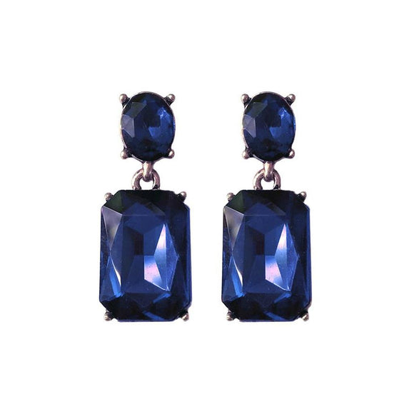 Navy Blue Gem with Blue Crystal Earrings in Antique Gold - Vz Collection
