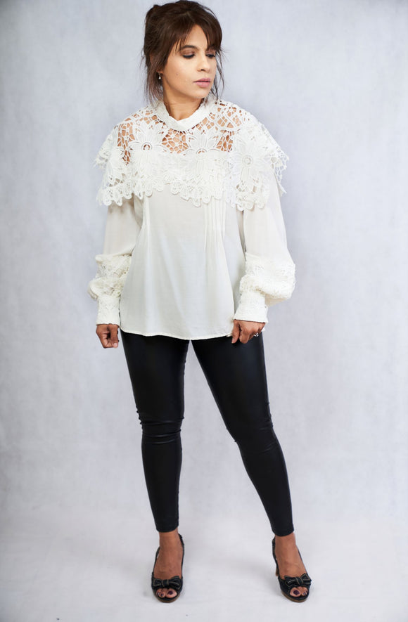 Long Sleeve Crepe Silk Top with French Lace - Vz Collection