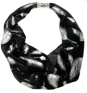 Subtle Shimmer Feather Magnetic Scarf - VzCollection
