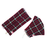 Red, Green, Black with White Stripes Tartan Print Woollen Face Mask - VzCollection