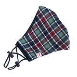 Navy, Grey and Rustic Colour with White Tartan Print Woollen Face Mask - VzCollection