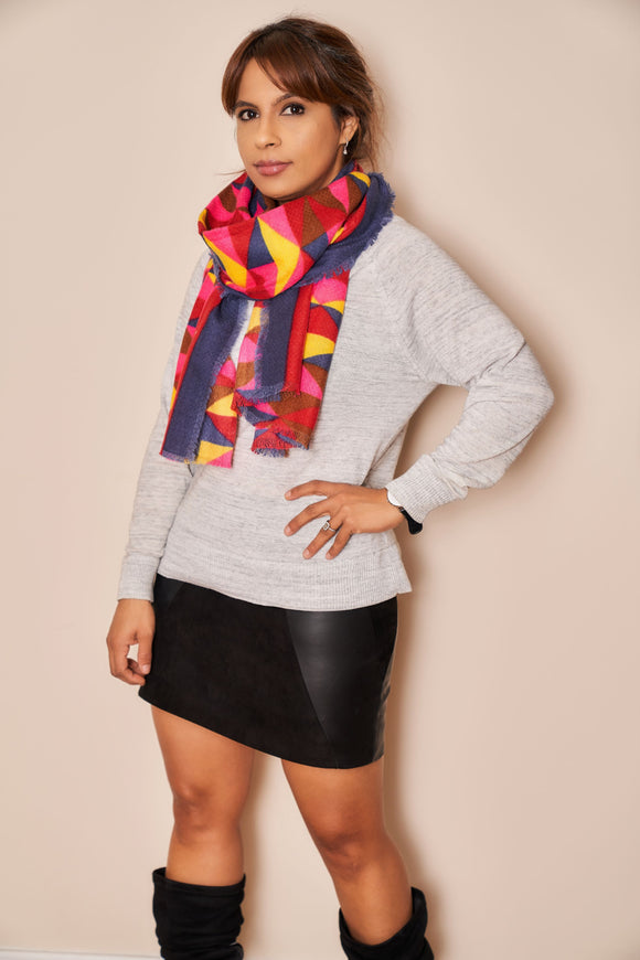 Super Soft Geometric Pattern Digital Print Scarf - VzCollection