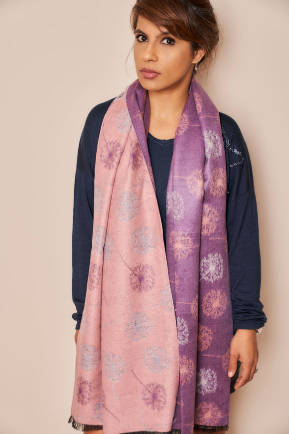 Super Soft Dandelion Print Reversible Scarf - VzCollection
