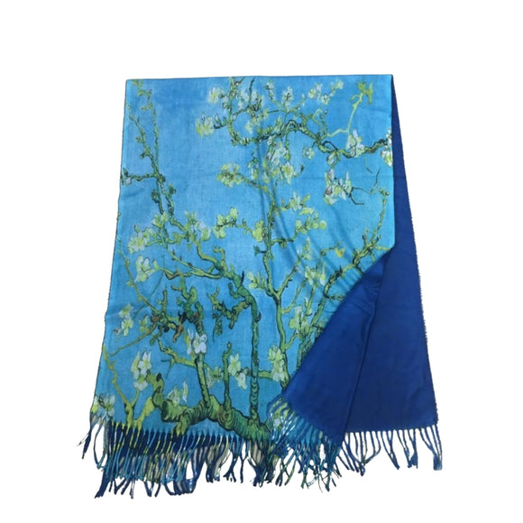 Vincent Van Gogh Blossom Tree Digital Printed Scarf - Vz Collection