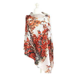 Plum Blossom Digital Printed Scarf - Vz Collection