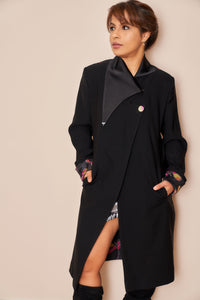 Black Dragonfly Knee Length Jacket - VzCollection