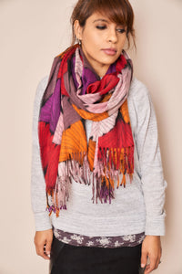 Multicolour Ginkgo Biloba Print Scarf - Vz Collection