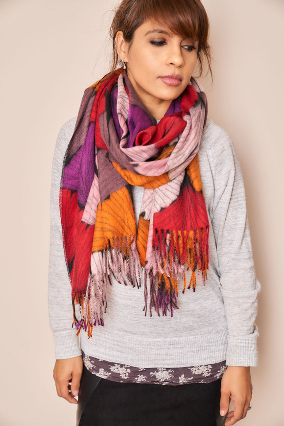 Multicolour Ginkgo Biloba Print Scarf - VzCollection