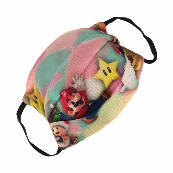 Super Mario Print Reversible Kids Cotton Face Mask - VzCollection