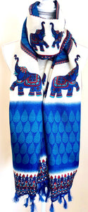 Screen Printed Silk Scarf with Elephant Border - VzCollection