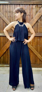 Dark Blue Halter Neck Jumpsuit - VzCollection