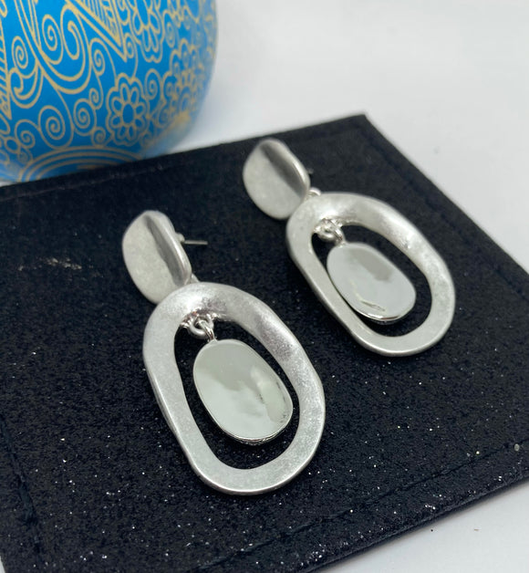 Matt Finish Oval Bead Double Drop Earrings