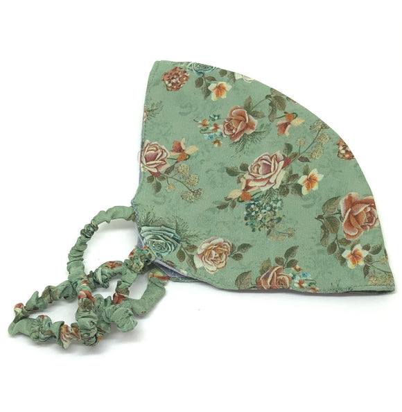 Floral Print on Duck Egg Green in Silk Face Mask - VzCollection