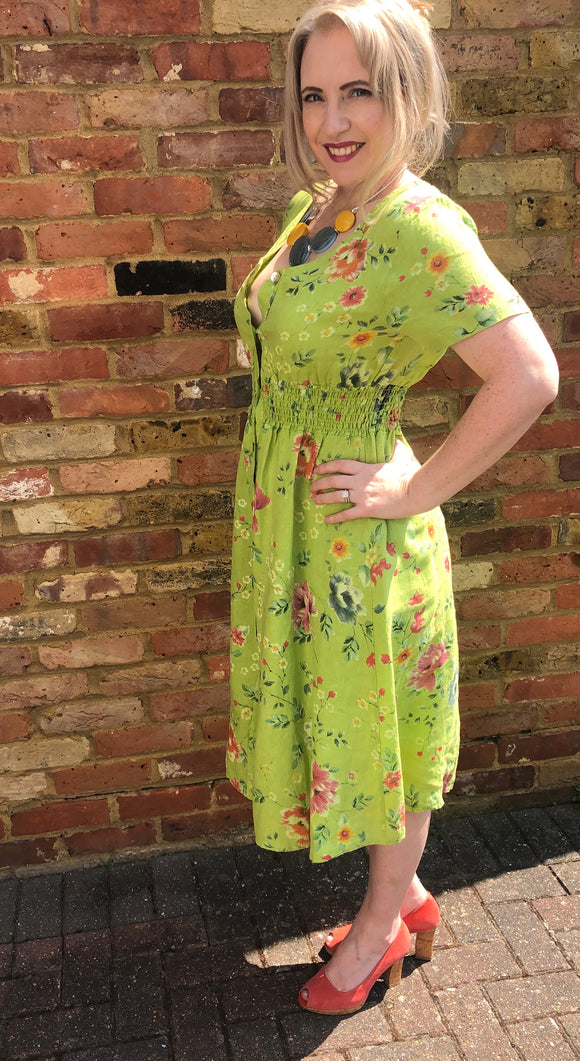 Italian Linen Lime Green A Line Dress - Vz Collection