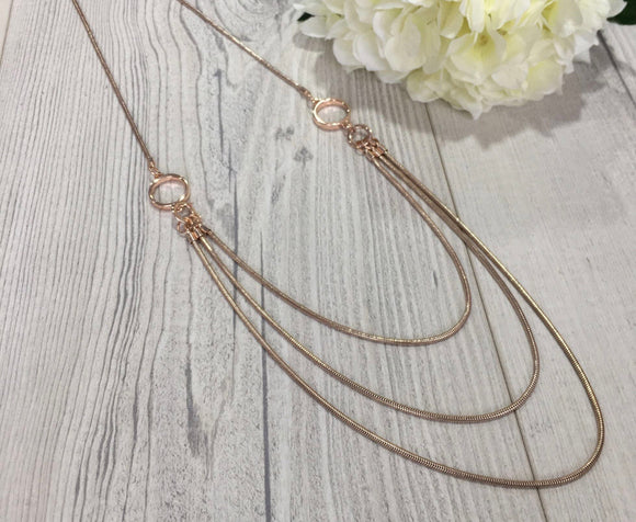 Multi chains in Rose Gold and Silver Long Necklace - VzCollection