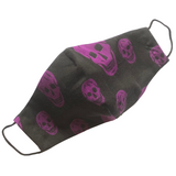 Purple Skull Print on Black Cotton Face Mask - VzCollection
